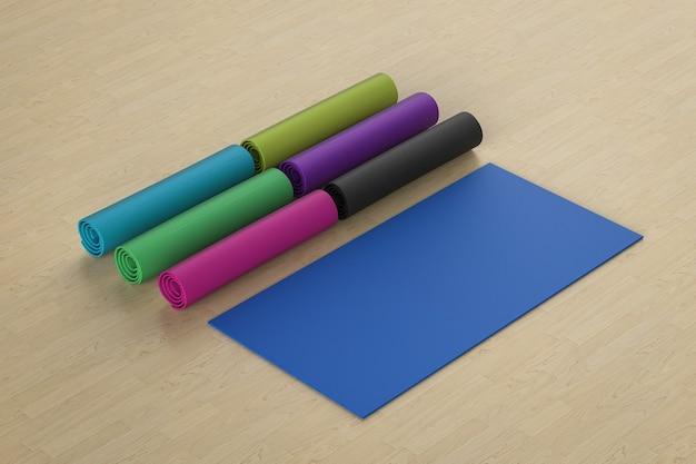 3d-rendering van kleurrijke yogamatten op de vloer
