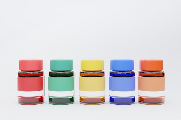 3d-rendering, verfkleuren in glazen fles, terug naar school concept