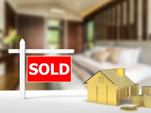 3d-rendering verkocht huisbord met gouden huismodel