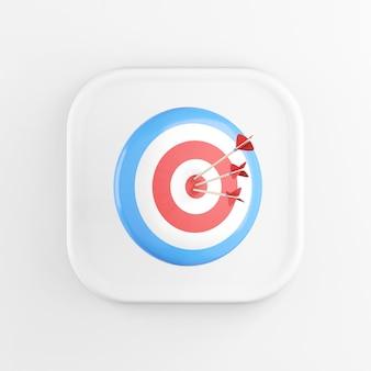 3d-rendering vierkant wit pictogram knop sleutel rond doel met pijlen geïsoleerd op een witte achtergrond.