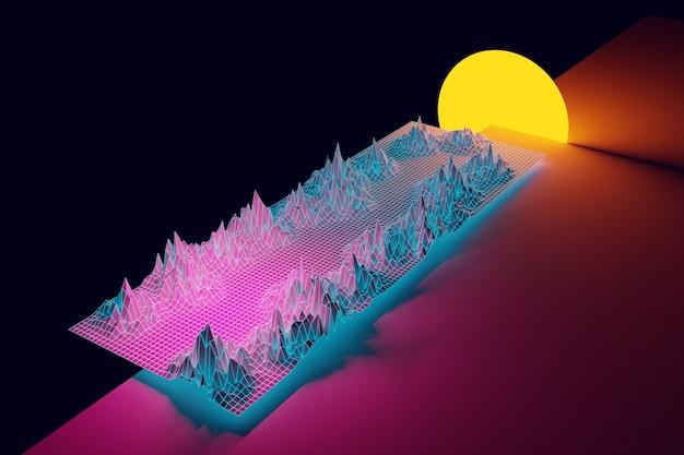 3d-rendering, virtuele realiteit, weg van geometrische lijnen tussen de bergen naar de ondergaande zon.