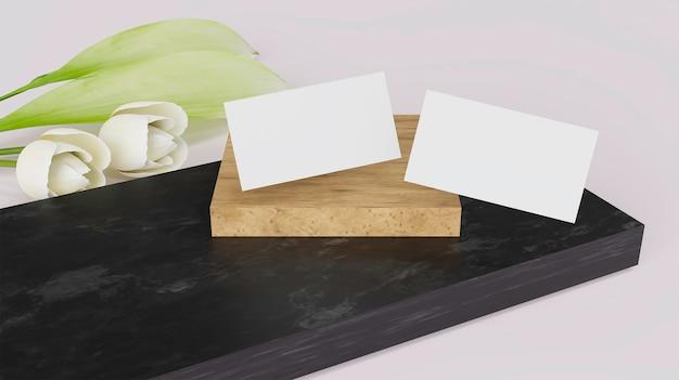 3d-rendering visitekaartje mockup met witte bloem.