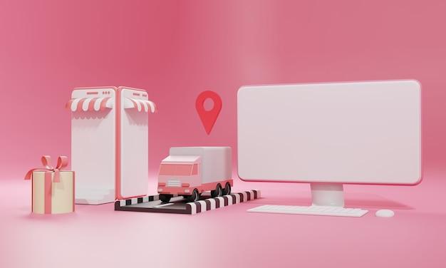 3d-rendering vlakke afbeelding online winkel winkel op mobiele applicatie en vrachtvervoer per vrachtwagen van computer en smartphone. premium illustratie