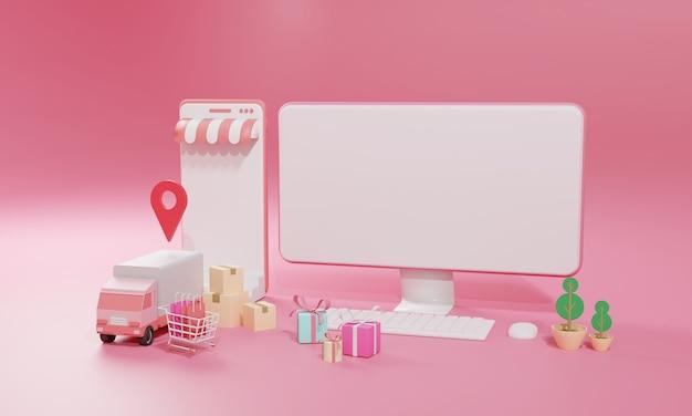 3d-rendering vlakke afbeelding online winkel winkel op mobiele applicatie en vrachtvervoer per vrachtwagen van computer en smartphone.