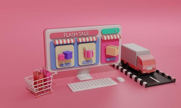 3d-rendering vlakke afbeelding online winkel winkel op mobiele applicatie en vrachtvervoer per vrachtwagen van computer. premium illustratie