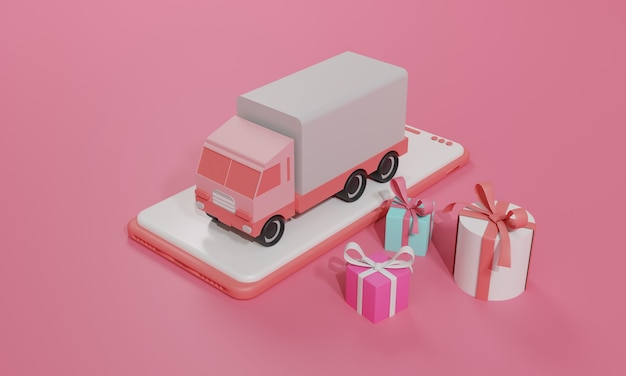3d-rendering vlakke afbeelding online winkel winkel op mobiele applicatie en vrachtvervoer per vrachtwagen van smartphone. premium illustratie