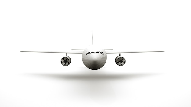 3d-rendering, vleugels en propellers van een passagiersvliegtuig. luchtvervoer, luchthaven, geïsoleerd element op witte achtergrond, ontwerp. vooraanzicht.
