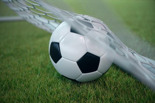3d-rendering voetbal in doel. voetbalbal in netto met schijnwerper en stadion lichte achtergrond, succesconcept. voetbal met groen gras