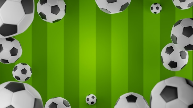 3d-rendering voetballen vallen op voetbalveld frame achtergrond soccer