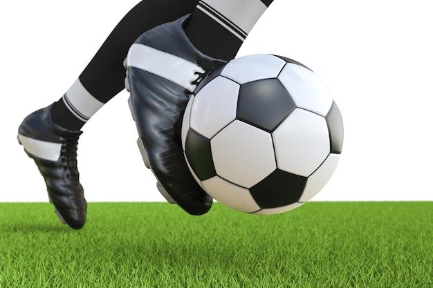 3d-rendering voetballer voetbal in beweging schoppen