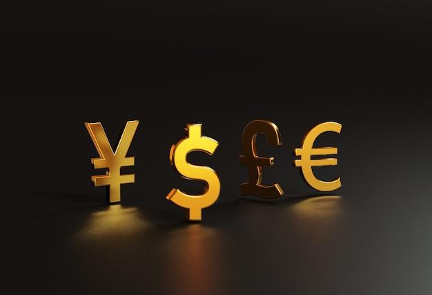 3d-rendering voor de belangrijkste gouden valutawissel omvat dollar yen pound en euro in de wereld op zwarte achtergrond en kopieerruimte, forex trading en investeringsconcept.