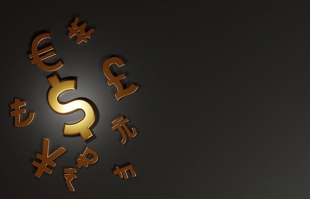 3d-rendering voor de belangrijkste gouden valutawissel omvat dollar yen pound euro yuan won in de wereld op zwarte achtergrond en kopieerruimte, forex trading en investeringsconcept.