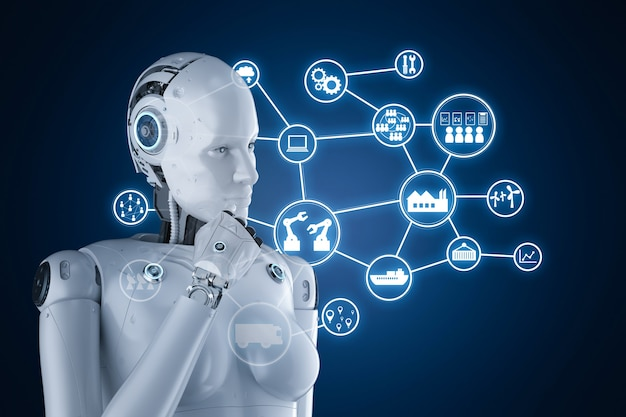 3d-rendering vrouwelijke cyborg of robot die werkt met hud of grafische weergave