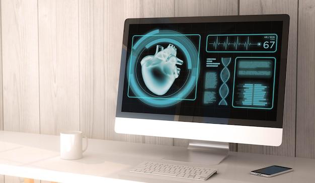 3d-rendering werkruimte met gezondheidssoftware op het scherm van computer en smartphone.