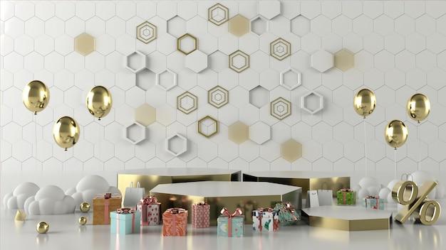 3d-rendering winkelen abstracte geometrische vorm scène concept decoratie