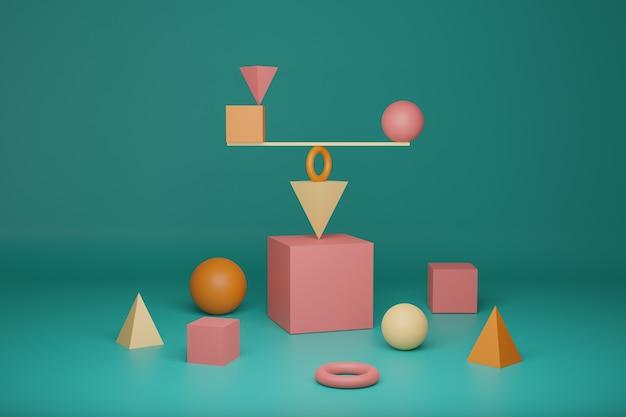 3d-rendering, wiskunde en natuurkunde podium achtergrond