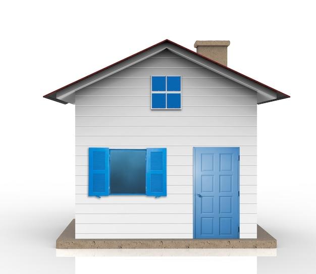 3d-rendering wit huismodel met blauw raam en blauwe deur