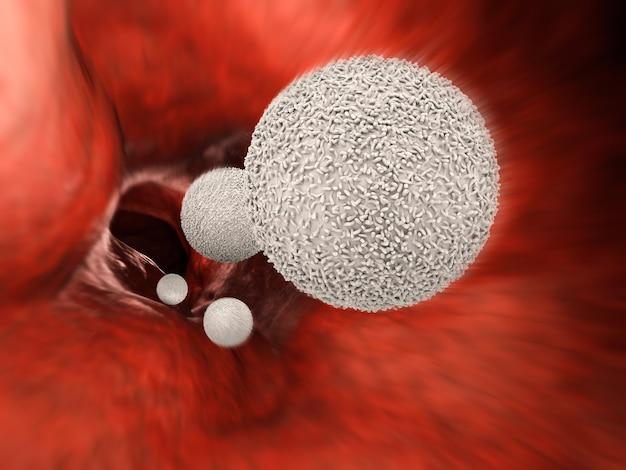 3d-rendering witte bloedcellen in ader