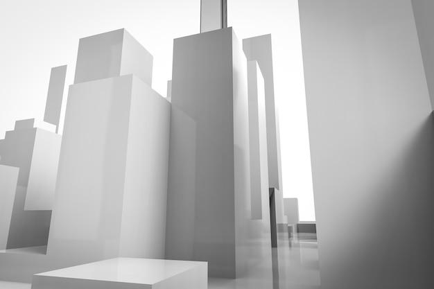 3d-rendering witte gebouwen op witte achtergrond