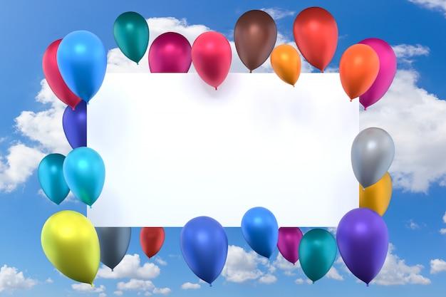 3d-rendering, witte kaart met veelkleurige opblaasbare lucht ballonnen op blauwe hemelachtergrond