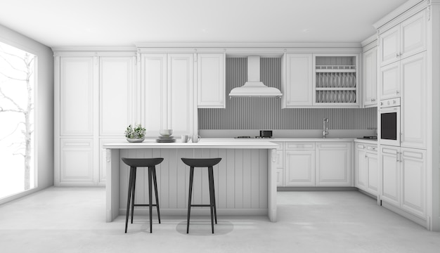 3d-rendering witte klassieke keuken