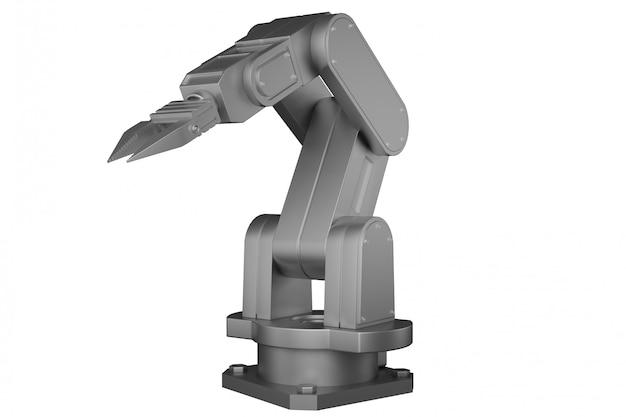 3d-rendering witte mechanische robotarm op witte geïsoleerde achtergrond.