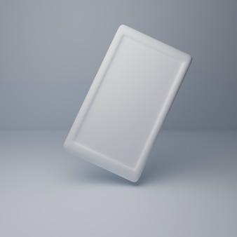 3d-rendering witte mobiele telefoon mock up met een leeg scherm