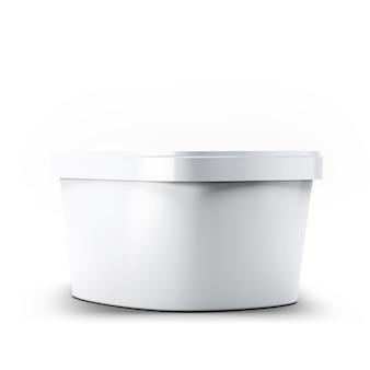 3d-rendering witte plastic doos met ijscontainer voor uw ontwerp en logo mock up. geschikt voor uw ontwerpelement.