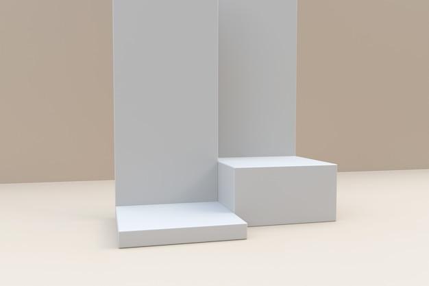 3d-rendering witte podia op lichtbeige achtergrond