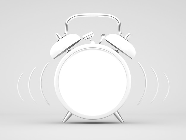 3d-rendering witte wekker op witte achtergrond