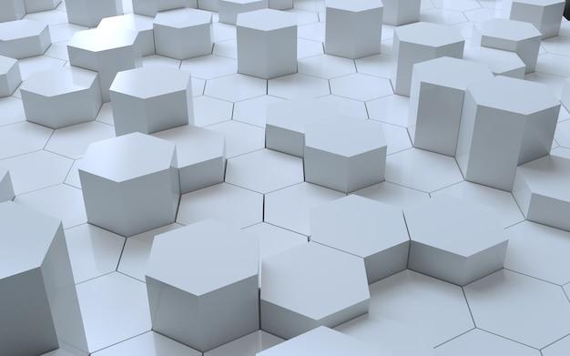3d-rendering witte zeshoek abstracte achtergrond