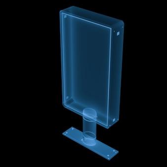 3d-rendering x ray verticale billboard geïsoleerd op zwart