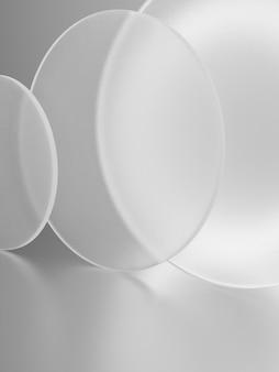 3d-rendering zacht licht en semi-transparante cirkelplaten overlappende productweergaveachtergrond voor huidverzorgings- of gezondheidsproducten eenvoudig mat wit en grijs