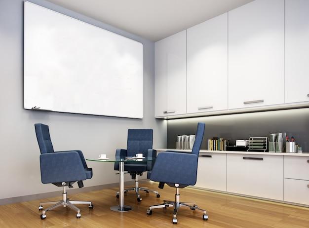 3d-rendering zakelijke vergaderzaal op hoge stijging kantoorgebouw