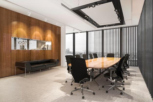 3d-rendering zakelijke vergaderzaal op hoogbouw kantoorgebouw