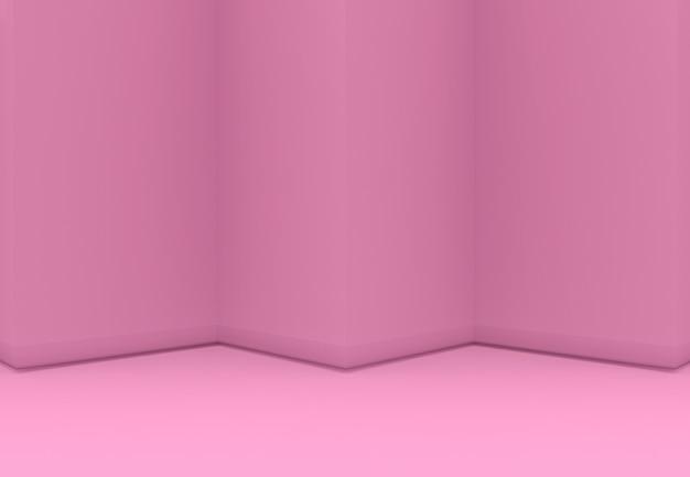 3d-rendering. zoete roze driehoekszigzagmuur en vloer backgorund.