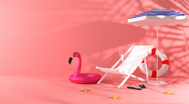 3d-rendering zomer gekleurde scène