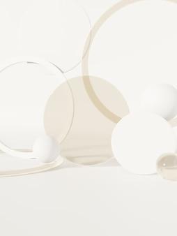 3d-rendering zonlicht en semi-transparante cirkelplaten of bollen productweergave-achtergrond