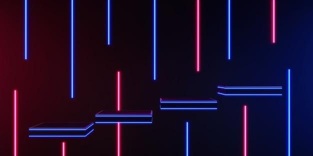 3d-rendering zwart metalen podiumdisplay op zwarte en donkere productplank laser staande gloed neon