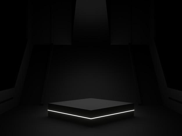 3d-rendering zwart podium voor productvertoning