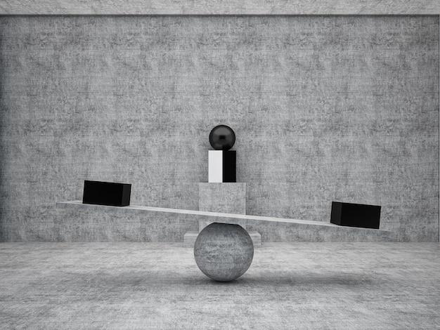 3d rendering zwarte doos dezelfde grootte op plank betonbalans concept. minimalistisch concept