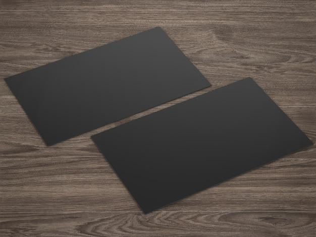3d-rendering zwarte naamkaartjes voorkant en zwart op houten achtergrond