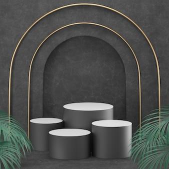 3d-rendering zwarte podium geometrie met gouden elementen.