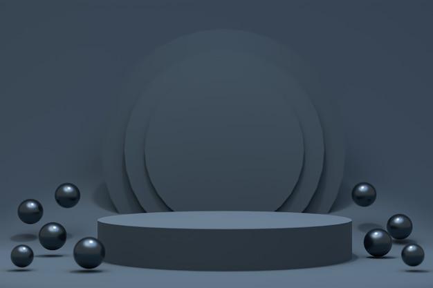 3d-rendering, zwarte podium minimale abstracte achtergrond voor cosmetische productpresentatie, abstracte geometrische vorm