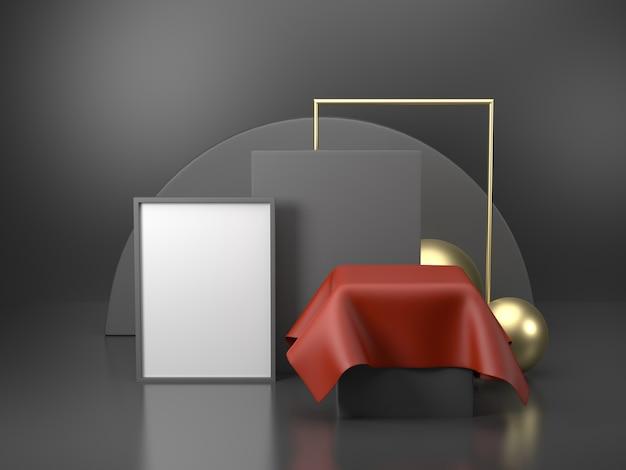 3d-rendering zwarte podiumgeometrie met gouden elementen. abstract geometrisch vorm leeg podium. minimale scène vierkante stap vloer abstracte compositie