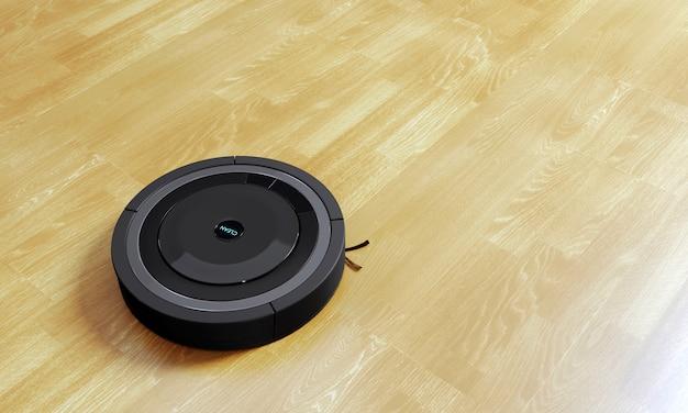 3d-rendering zwarte robot stofzuiger vloer gemaakt van laminaat