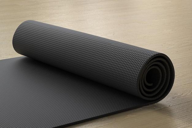 3d-rendering zwarte yogamat op de vloer