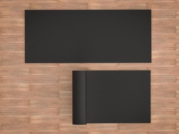 3d-rendering zwarte yogamat op houten vloer
