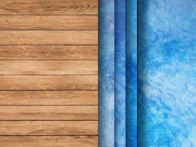 3d-rendering zwembad bovenaanzicht met houten vloer en ladder
