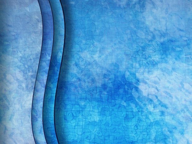 3d-rendering zwembad bovenaanzicht met trappen onder water